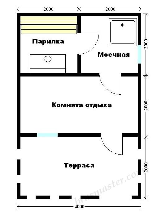 план бани 4х6