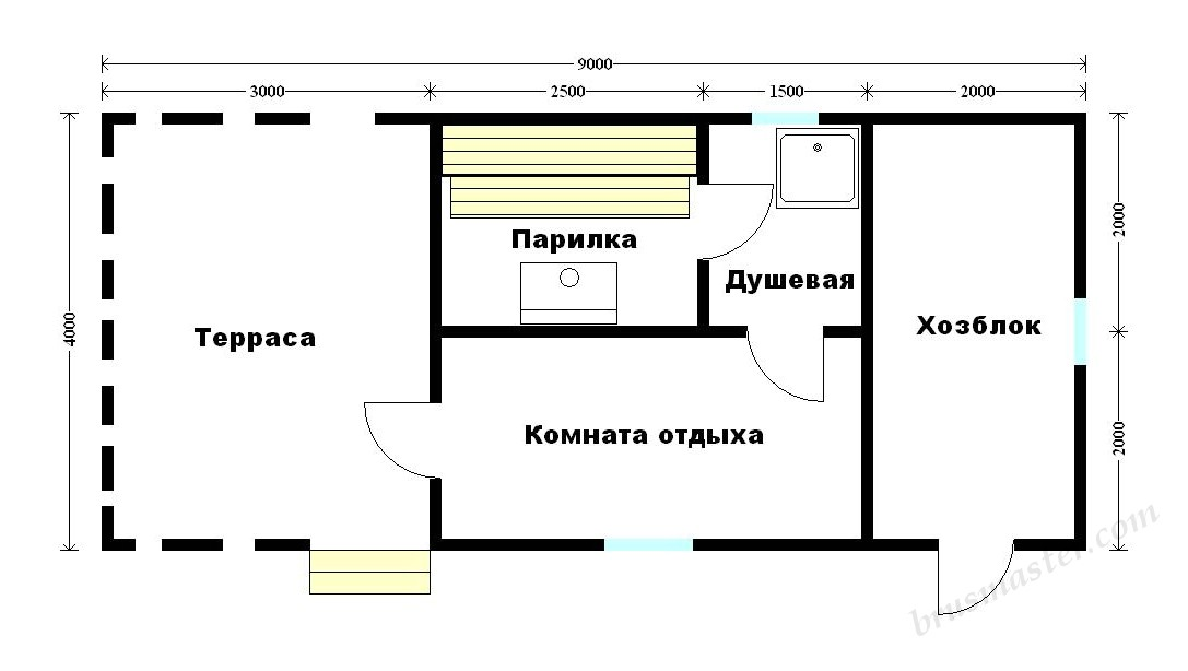 планировка бани 4х9