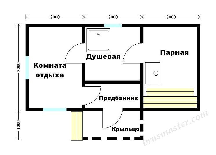 планировка бани 6х3
