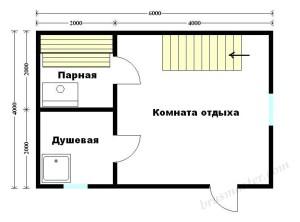 Баня 6х4 с мансардой (проект Б-15)