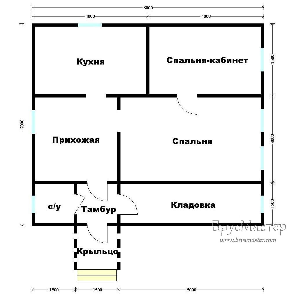 план дома 7х8 одноэтажного