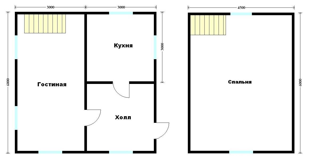 план дома 6 на 6 из бруса