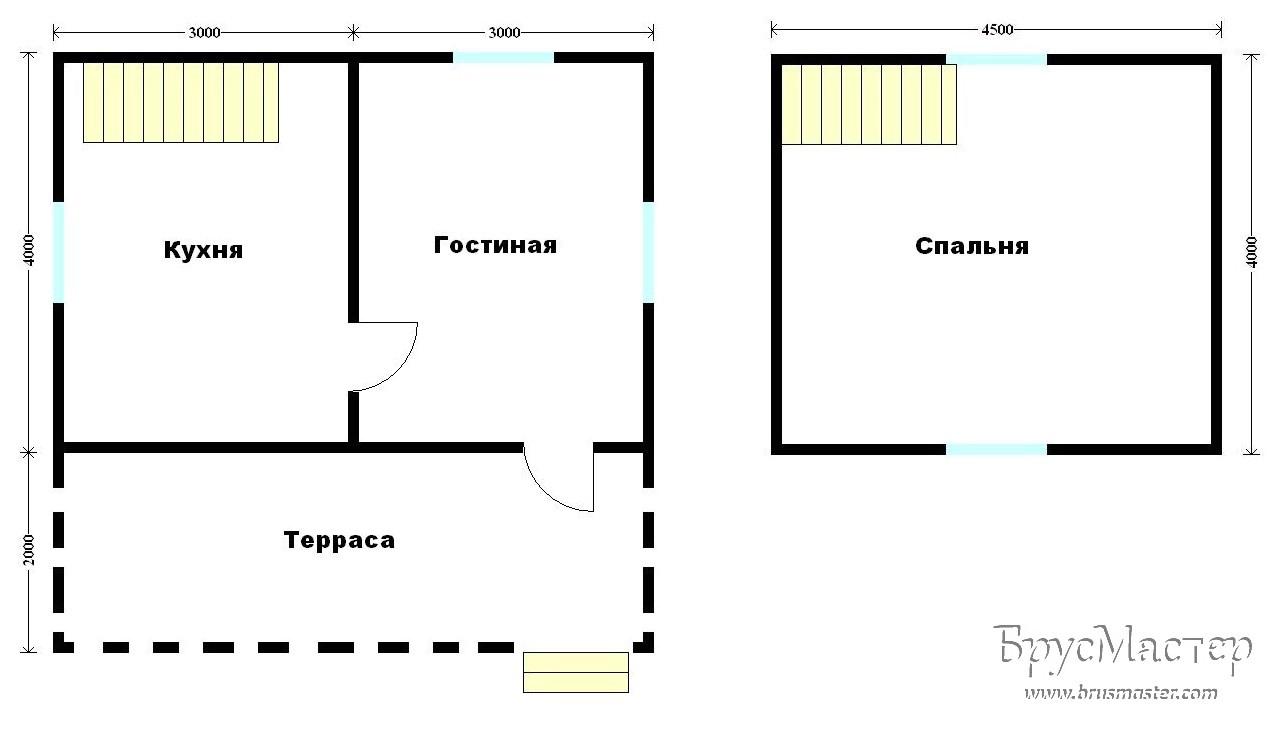 планировка дома 6х4