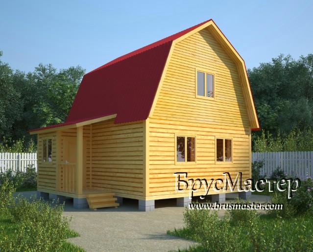 Дом из бруса с крыльцом (проект Д-14)