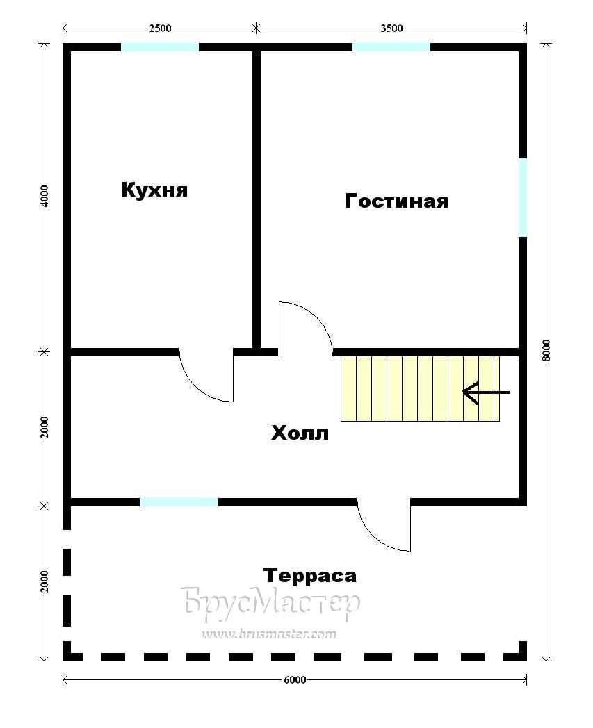 план дома 6х8 с мансардой