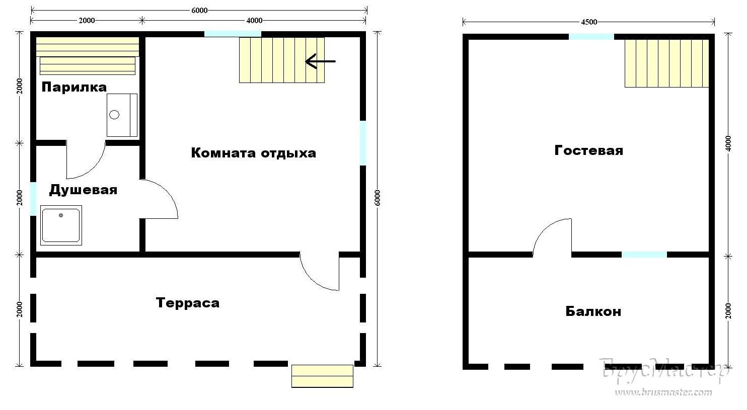 план бани с ломаной крышей