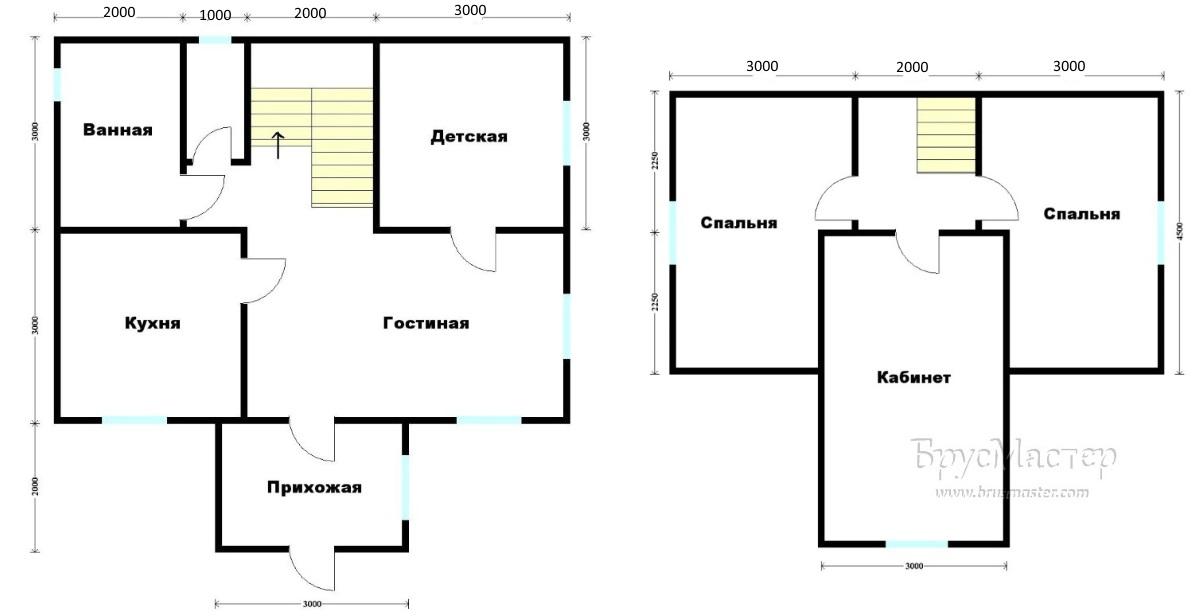 планировка деревянного дома 6х8