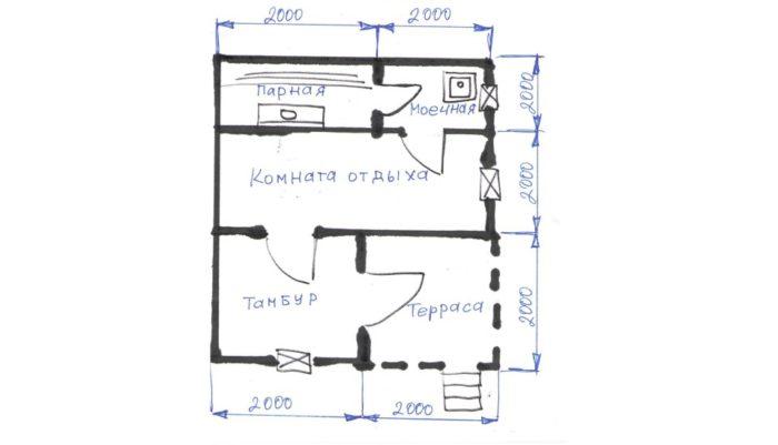 план бани 6х4 с тамбуром