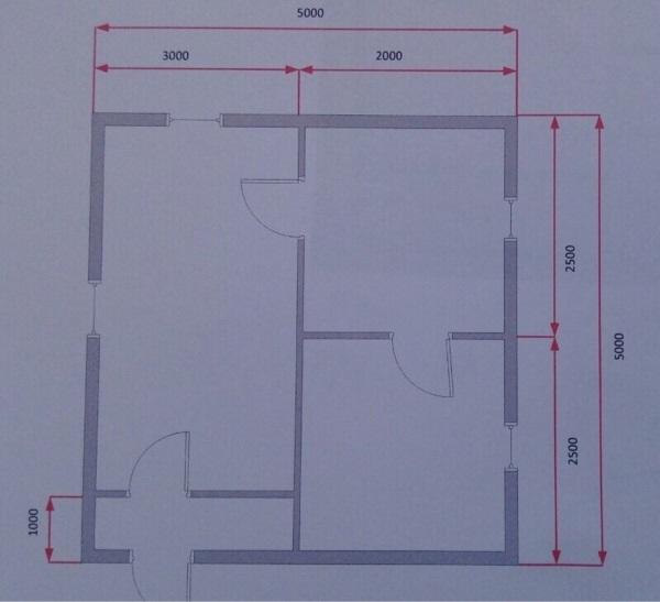 планировка бани 5х5 в Новой Москве