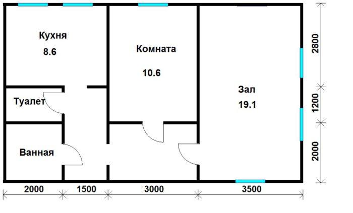 Планировка дома как двухкомнатной квартиры