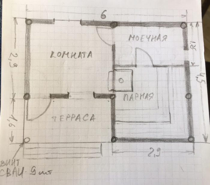 Баня 6х4.50 с раздевалкой
